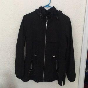 Zara Women's Utility Rain Jacket Black sz M